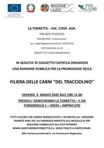 """Promozione della filiera delle """"Carni del Tracciolino"""", venerdì riunione pubblica"""